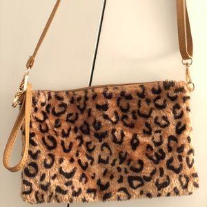 LF Cheetah Print Fur Purse